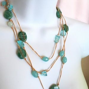 Jewelry - Bead Necklace Blue Green Acrylic Beach Necklace